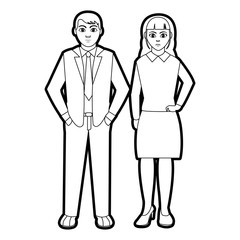 outline businesspeople with elegant clothes and hairstyle design