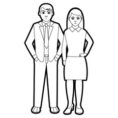 outline people with elegant clothes and hairstyle design