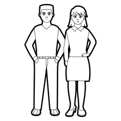 outline elegant people with hairtyle design and clothes