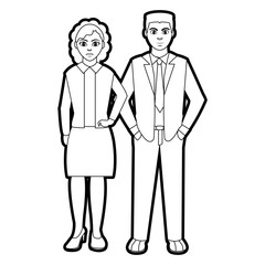 outline people with hairstyle and elegant clothes style
