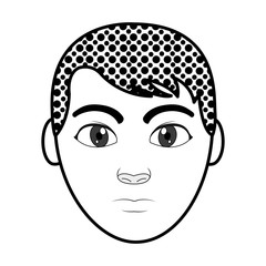 filling texture avatar man head with facial expression and hairstyle