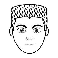 filling texture man head user with facial expression and hairstyle