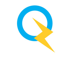alphabet Q lightning typography typeset font image vector icon symbol