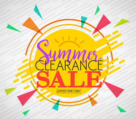 Creative Summer Clearance Sale Vector Illustration with Lines and Other Shapes in White with Vignette Background for Promotional Purposes.