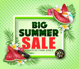 Big Summer Sale  Limited Time Only Advertisement Poster with Watermelon, Beach Ball, Flowers and Tropical Leaves in Green Background with Halftone Pattern for Promotional Purposes.