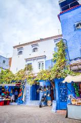 Foto op Aluminium Zuid-Amerika land Street market in blue medina of city Chefchaouen, Morocco, Africa.