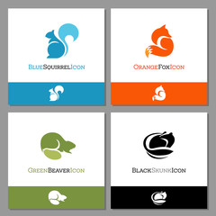 Set of forest animal icons to use for logos or mascots. Includes, squirrel, fox, beaver and skunk. Flat minimalist style. Vector Illustration.