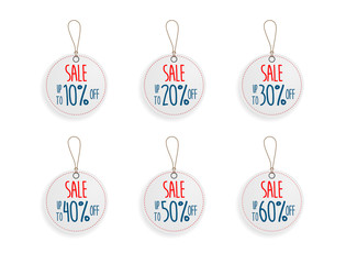 set of circle price discount sale tag label background