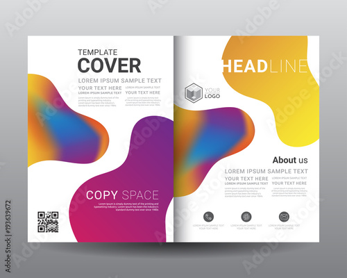 Business Bi Fold Brochure Templates Leaflet Flyer Magazine Annual Report
