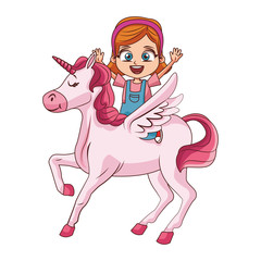 Cute girl on unicorn cartoon vector illustration graphic design