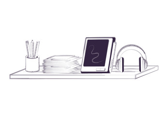 Desk and office supplies design