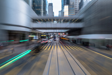 Fotomurales - Blurred Motion Travel in Business District of Hong Kong