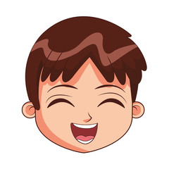 Cute boy face cartoon vector illustration graphic design