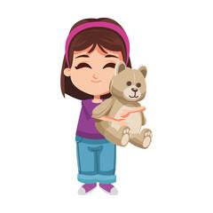 Girl hugging teddy bear vector illustration graphic design