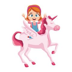 Cute girl on unicorn cartoon vector illustration graphic design