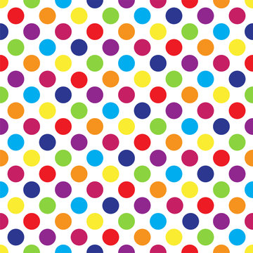 Seamless colorful polka dot pattern on white. Vector illustration.
