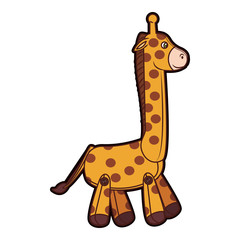 Stuffed giraffe cartoon vector illustration graphic design