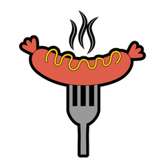 sausage with sauces in fork vector illustration design