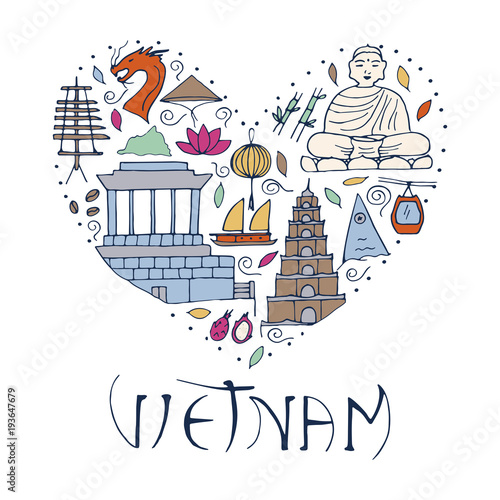 Culture Of Vietnam Illustration Symbols Of Asia In Form Of Heart