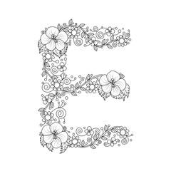 Floral Alphabet Letter E Coloring Book For Adults Vector IllustrationHand DrawnDoodle