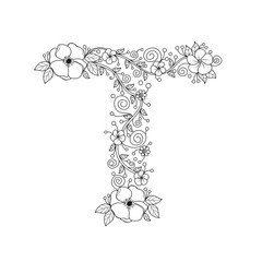 Floral Alphabet Letter I Coloring Book For Adults Vector