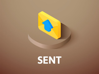 Sent isometric icon, isolated on color background