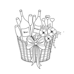 Champagne and wine in basket for coloring book for adult,poster, card and design element. vector illustration. doodle style. hand drawn