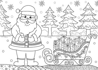 Santa claus with gift in coloring book for adult and kid. doodle style. vector illustration. handdrawn.