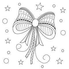 Coloring book of red bow for adult.zentangle style.vector illustration.handdrawn.