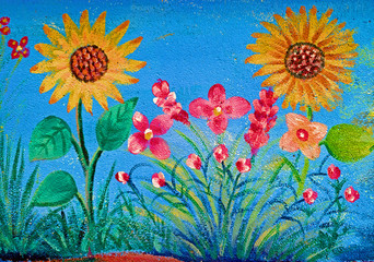 sunflower painting on house dirty wall for children