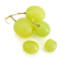 Fresh green grape fruit on white background