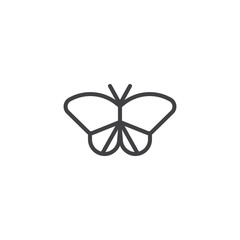 Moth outline icon. linear style sign for mobile concept and web design. Butterfly simple line vector icon. Symbol, logo illustration. Pixel perfect vector graphics