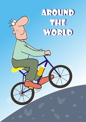 man goes around the world on the bicycle, funny postcard, vector illustration