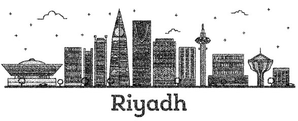 Engraved Riyadh Saudi Arabia City Skyline with Modern Buildings Isolated on White.
