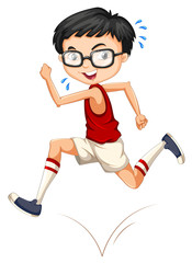 Boy with glasses running