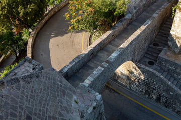 stone bridge in the fortress over the road in Herceg Novi in Montenegro