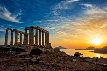 Temple of Poseidon at Sounion in Greece
