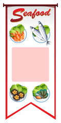 Banner design with different types of seafood