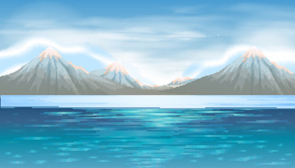 Background scene with blue lake and mountains