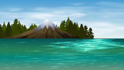 Background scene with lake and mountain