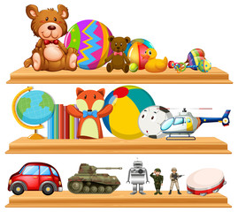Many cute toys on wooden shelves