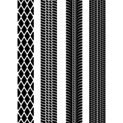 Set of detailed tire prints. Modern tire tread. Tire mark black. Vector illustration