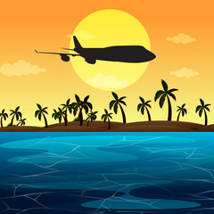 Silhouette scene with airplane flying over ocean