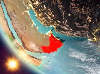 Sunset above Oman on Earth