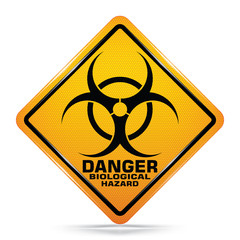 Danger biological hazard signs symbol on white background, Attracting attention,Compulsory, Control ,practice, Security first sign, Idea for graphic,web design,EPS10