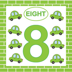 Educational card number 8 (eight) with cars. Learning numbers, mathematics.