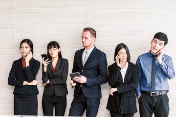 Group of business people use technology together of smartphone