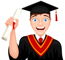 Vector illustration of a smiling cartoon graduate holding his diploma.