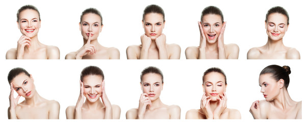 Collage of negative and positive female face expressions. Set of young woman expressing different emotions and gesturing isolated on white backgroung