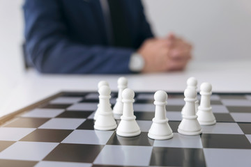 Confident Chess leadership and success concept, chess save the strategy and teamwork power